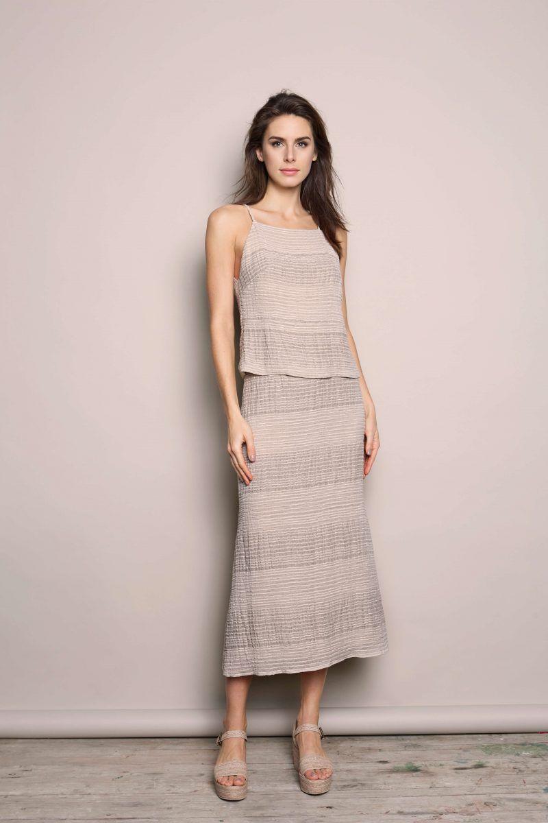 falda de lino de rayas